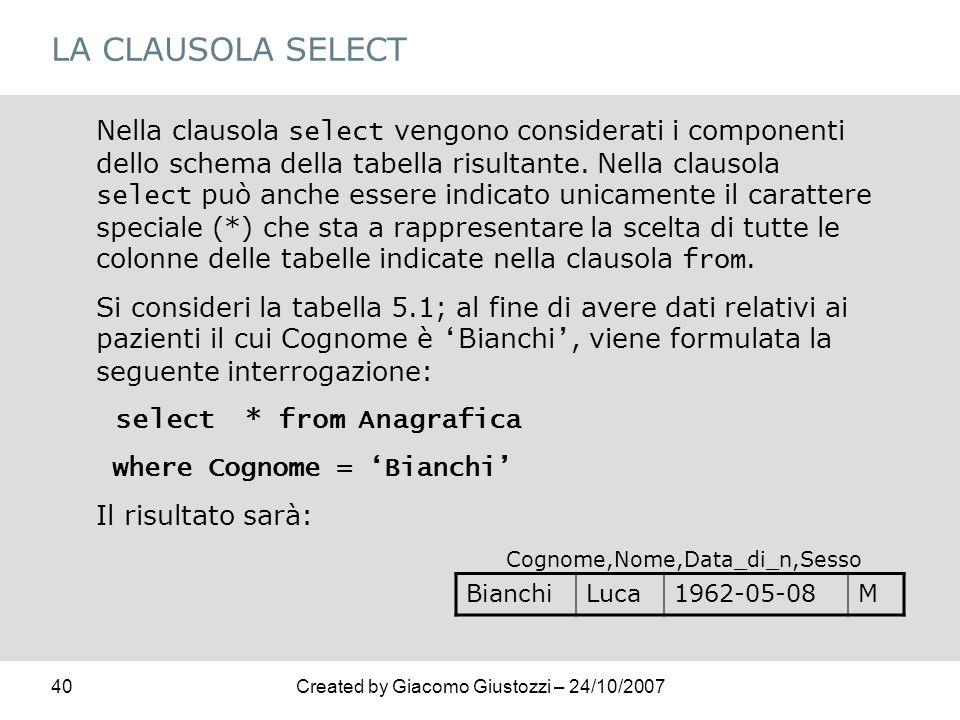 40Created by Giacomo Giustozzi – 24/10/2007 LA CLAUSOLA SELECT Nella clausola select vengono considerati i componenti dello schema della tabella risul