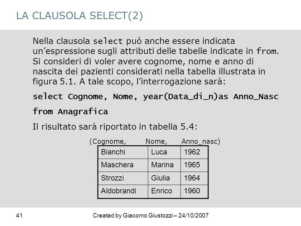 41Created by Giacomo Giustozzi – 24/10/2007 LA CLAUSOLA SELECT(2) Nella clausola select può anche essere indicata unespressione sugli attributi delle
