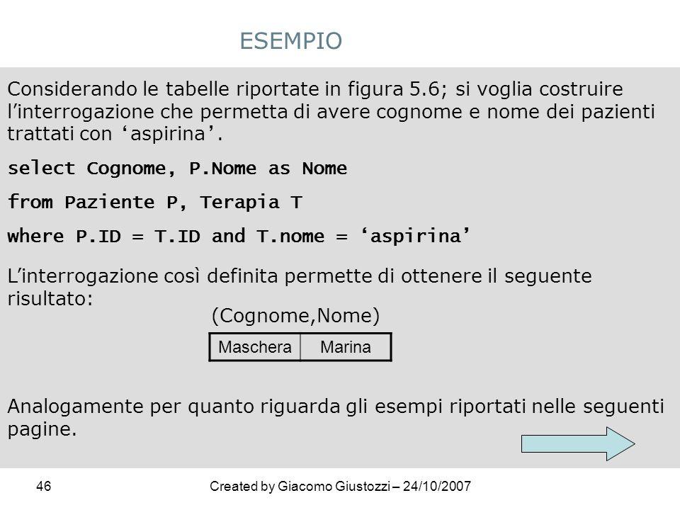 46Created by Giacomo Giustozzi – 24/10/2007 ESEMPIO Considerando le tabelle riportate in figura 5.6; si voglia costruire linterrogazione che permetta