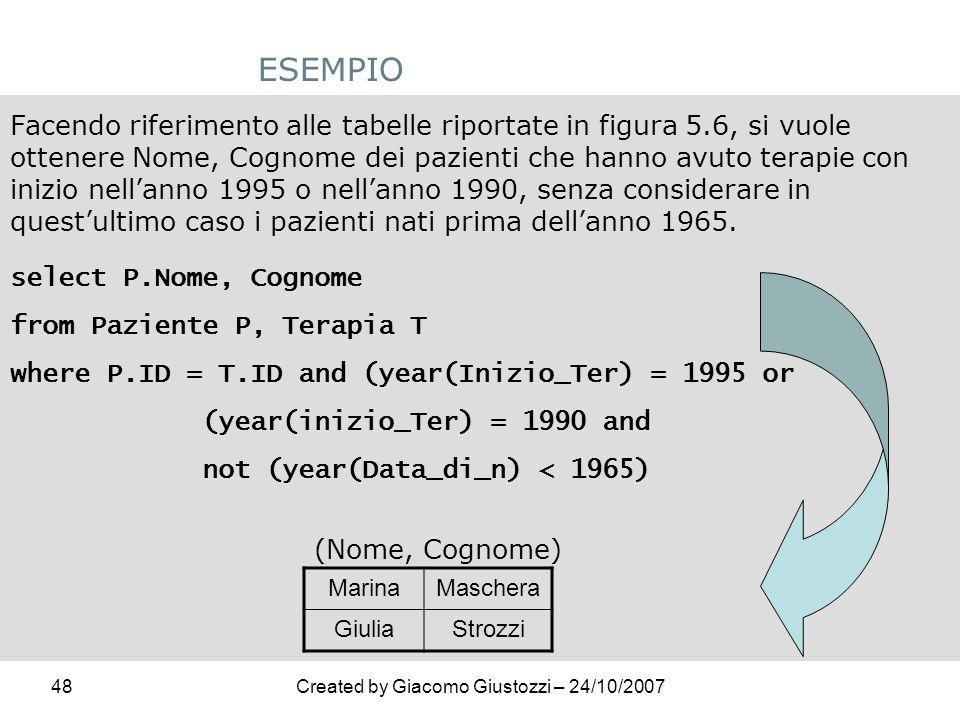 48Created by Giacomo Giustozzi – 24/10/2007 ESEMPIO Facendo riferimento alle tabelle riportate in figura 5.6, si vuole ottenere Nome, Cognome dei pazi