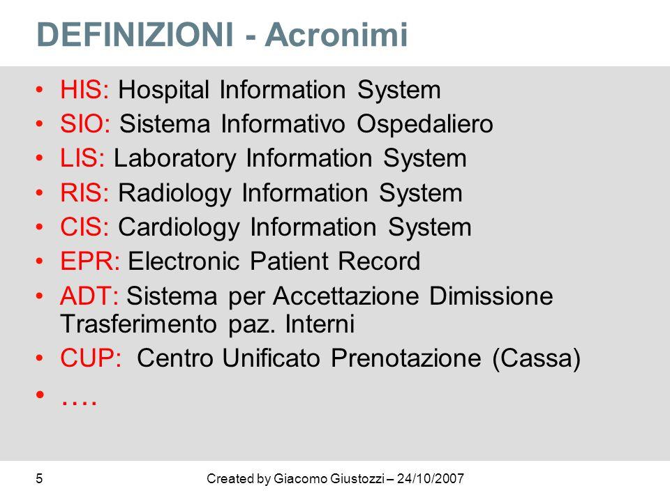 5Created by Giacomo Giustozzi – 24/10/2007 DEFINIZIONI - Acronimi HIS: Hospital Information System SIO: Sistema Informativo Ospedaliero LIS: Laborator