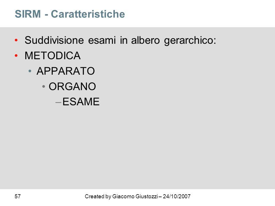 57Created by Giacomo Giustozzi – 24/10/2007 SIRM - Caratteristiche Suddivisione esami in albero gerarchico: METODICA APPARATO ORGANO –ESAME