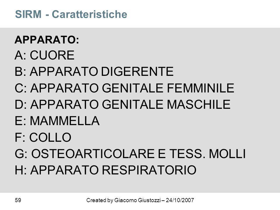 59Created by Giacomo Giustozzi – 24/10/2007 SIRM - Caratteristiche APPARATO: A: CUORE B: APPARATO DIGERENTE C: APPARATO GENITALE FEMMINILE D: APPARATO