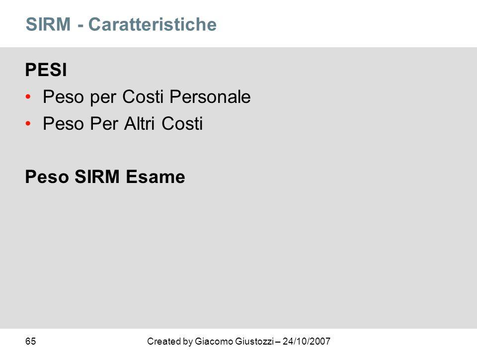 65Created by Giacomo Giustozzi – 24/10/2007 SIRM - Caratteristiche PESI Peso per Costi Personale Peso Per Altri Costi Peso SIRM Esame
