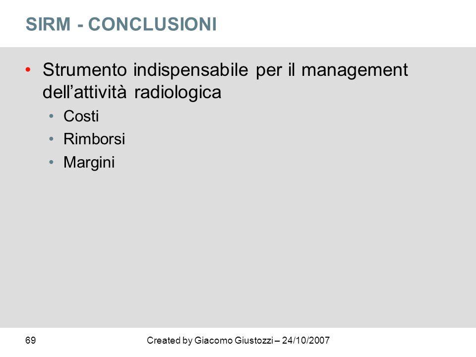 69Created by Giacomo Giustozzi – 24/10/2007 SIRM - CONCLUSIONI Strumento indispensabile per il management dellattività radiologica Costi Rimborsi Marg