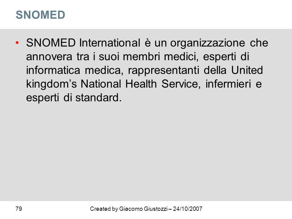 79Created by Giacomo Giustozzi – 24/10/2007 SNOMED SNOMED International è un organizzazione che annovera tra i suoi membri medici, esperti di informat