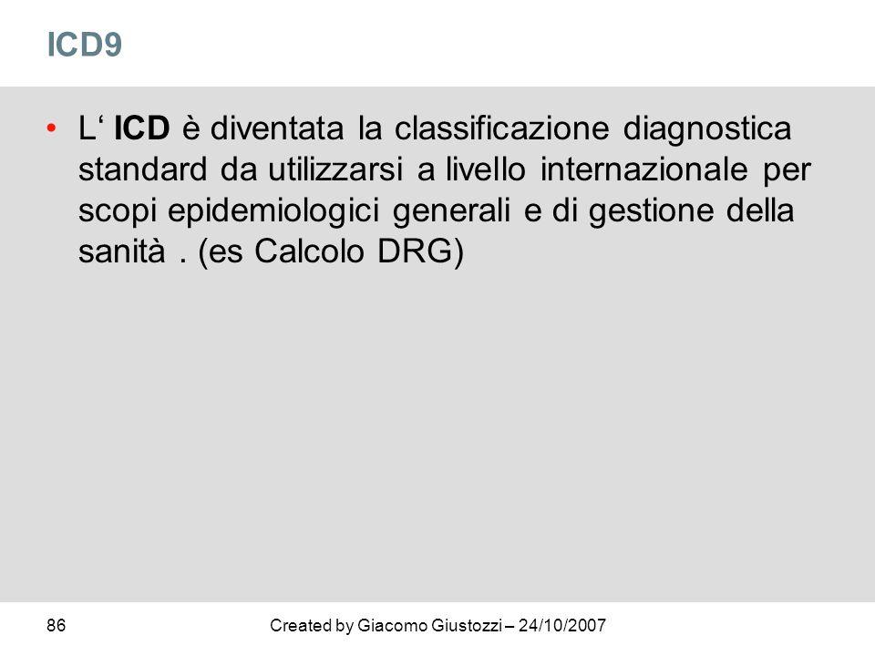 86Created by Giacomo Giustozzi – 24/10/2007 ICD9 L ICD è diventata la classificazione diagnostica standard da utilizzarsi a livello internazionale per