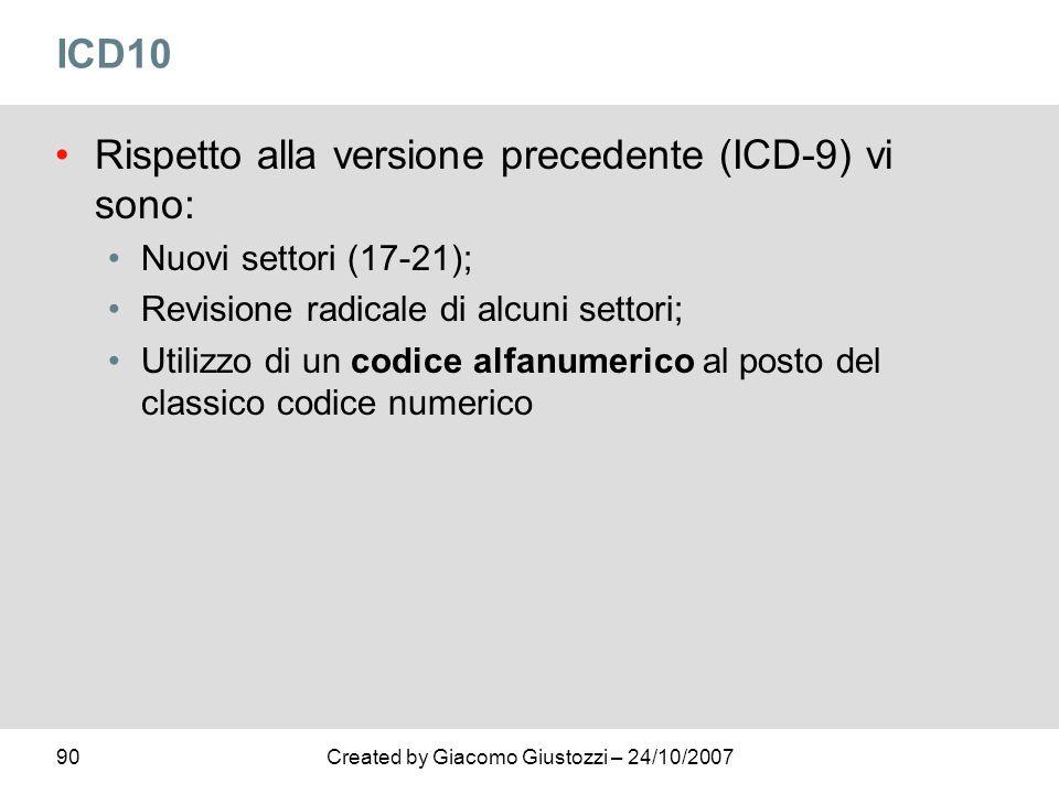 90Created by Giacomo Giustozzi – 24/10/2007 ICD10 Rispetto alla versione precedente (ICD-9) vi sono: Nuovi settori (17-21); Revisione radicale di alcu
