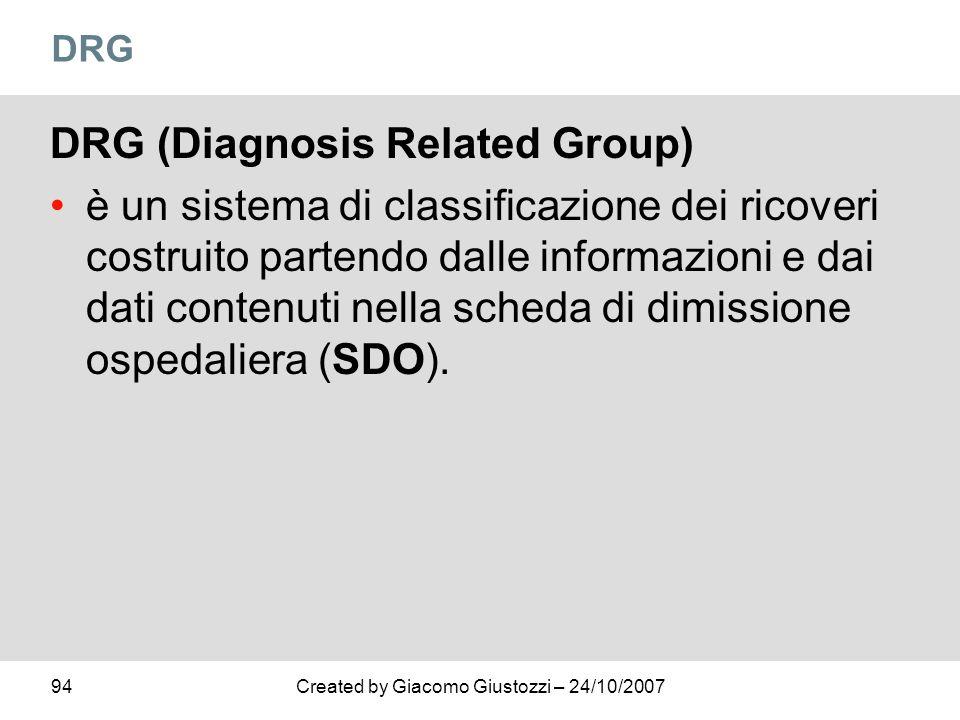 94Created by Giacomo Giustozzi – 24/10/2007 DRG DRG (Diagnosis Related Group) è un sistema di classificazione dei ricoveri costruito partendo dalle in
