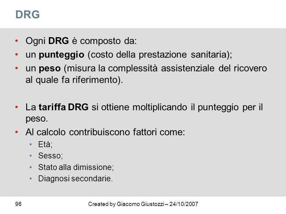 96Created by Giacomo Giustozzi – 24/10/2007 DRG Ogni DRG è composto da: un punteggio (costo della prestazione sanitaria); un peso (misura la complessi