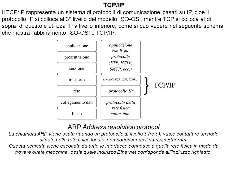 TCP/IP Il TCP/IP rappresenta un sistema di protocolli di comunicazione basati su IP, cioè il protocollo IP si colloca al 3° livello del modello ISO-OSI, mentre TCP si colloca al di sopra di questo e utilizza IP a livello inferiore, come si può vedere nel seguente schema che mostra labbinamento ISO-OSI e TCP/IP: ARP Address resolution protocol La chiamata ARP viene usata quando un protocollo di livello 3 (rete), vuole contattare un nodo situato nella rete fisica locale, non conoscendo lindirizzo Ethernet.