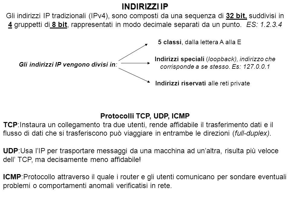 INDIRIZZI IP Gli indirizzi IP tradizionali (IPv4), sono composti da una sequenza di 32 bit, suddivisi in 4 gruppetti di 8 bit, rappresentati in modo d