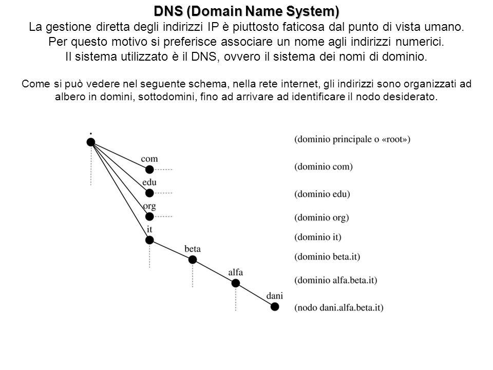 DNS (Domain Name System) La gestione diretta degli indirizzi IP è piuttosto faticosa dal punto di vista umano. Per questo motivo si preferisce associa