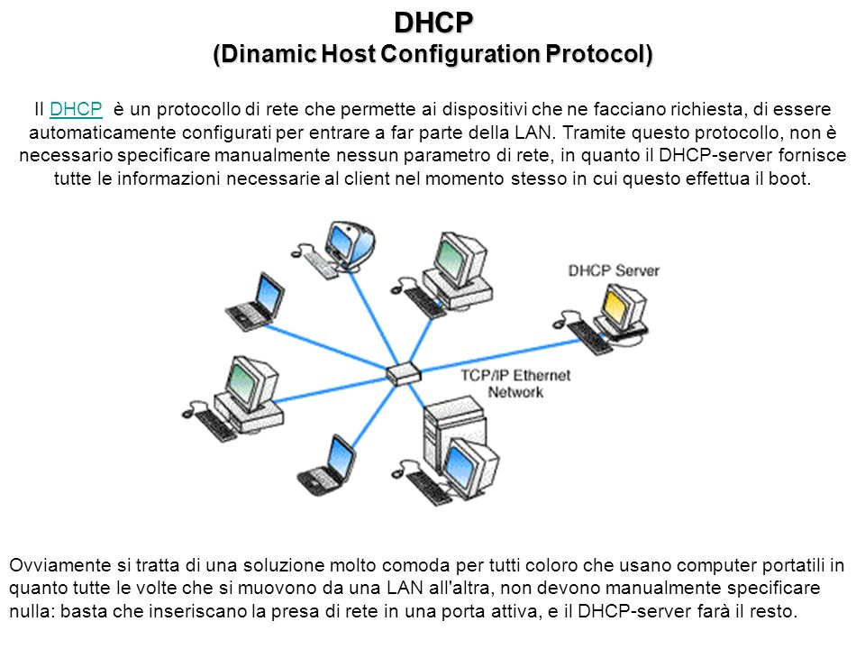 DHCP (Dinamic Host Configuration Protocol) Il DHCP è un protocollo di rete che permette ai dispositivi che ne facciano richiesta, di essere automaticamente configurati per entrare a far parte della LAN.