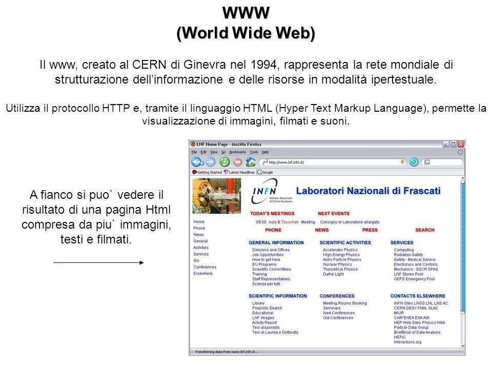 WWW (World Wide Web) Il www, creato al CERN di Ginevra nel 1994, rappresenta la rete mondiale di strutturazione dellinformazione e delle risorse in modalità ipertestuale.