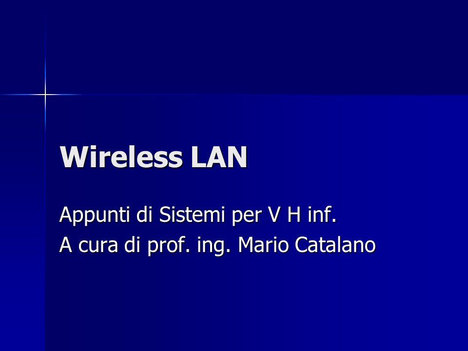 Wireless LAN Appunti di Sistemi per V H inf. A cura di prof. ing. Mario Catalano