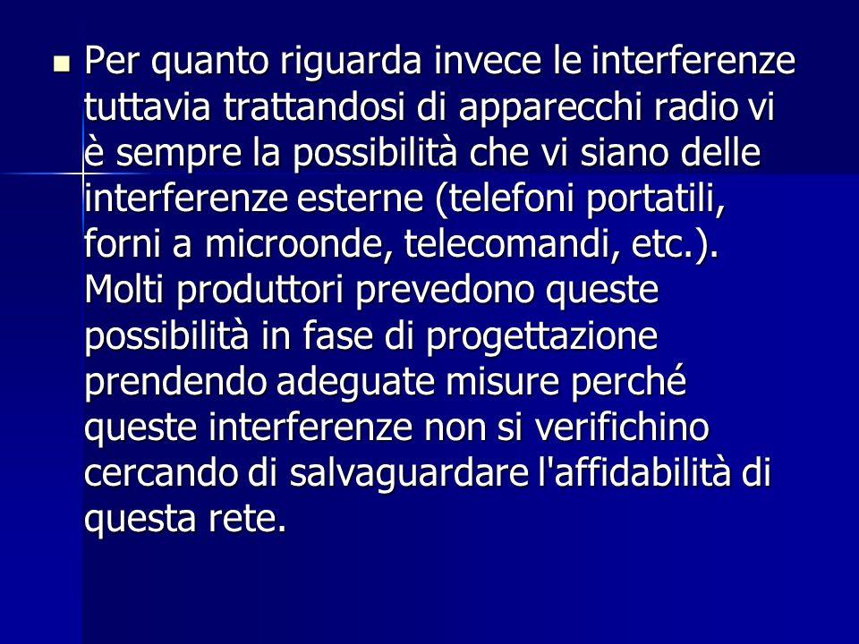 Per quanto riguarda invece le interferenze tuttavia trattandosi di apparecchi radio vi è sempre la possibilità che vi siano delle interferenze esterne (telefoni portatili, forni a microonde, telecomandi, etc.).