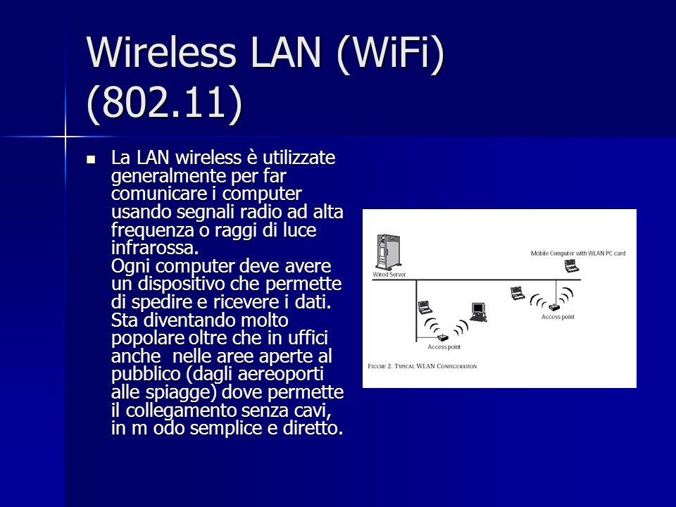 Wireless LAN (WiFi) (802.11) La LAN wireless è utilizzate generalmente per far comunicare i computer usando segnali radio ad alta frequenza o raggi di luce infrarossa.