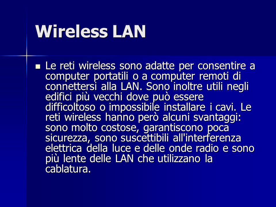 Wireless LAN Le reti wireless sono adatte per consentire a computer portatili o a computer remoti di connettersi alla LAN. Sono inoltre utili negli ed