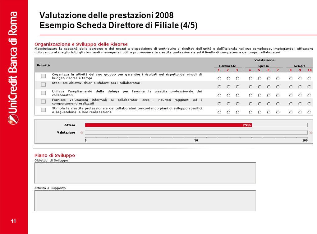 11 Valutazione delle prestazioni 2008 Esempio Scheda Direttore di Filiale (4/5)