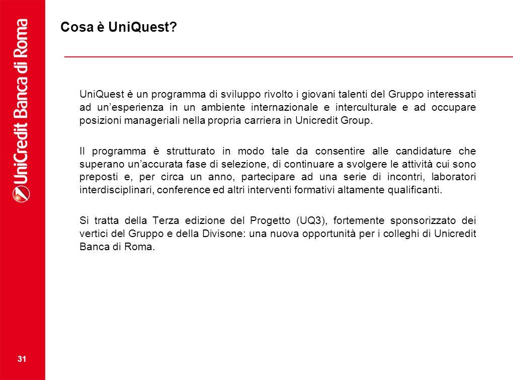 31 Cosa è UniQuest? UniQuest è un programma di sviluppo rivolto i giovani talenti del Gruppo interessati ad unesperienza in un ambiente internazionale