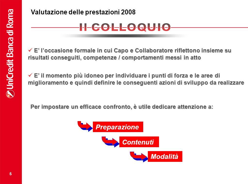 5 Valutazione della prestazione 2008 E loccasione formale in cui Capo e Collaboratore riflettono insieme su risultati conseguiti, competenze / comport