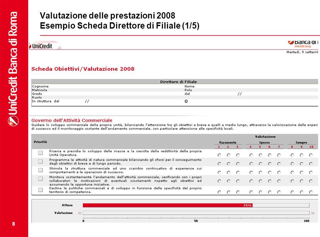 8 Valutazione delle prestazioni 2008 Esempio Scheda Direttore di Filiale (1/5)