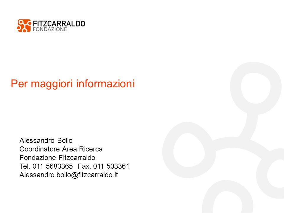 Per maggiori informazioni Alessandro Bollo Coordinatore Area Ricerca Fondazione Fitzcarraldo Tel.