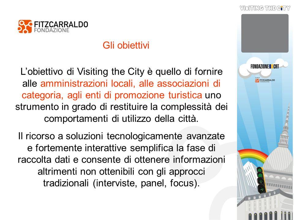 Gli obiettivi Lobiettivo di Visiting the City è quello di fornire alle amministrazioni locali, alle associazioni di categoria, agli enti di promozione turistica uno strumento in grado di restituire la complessità dei comportamenti di utilizzo della città.