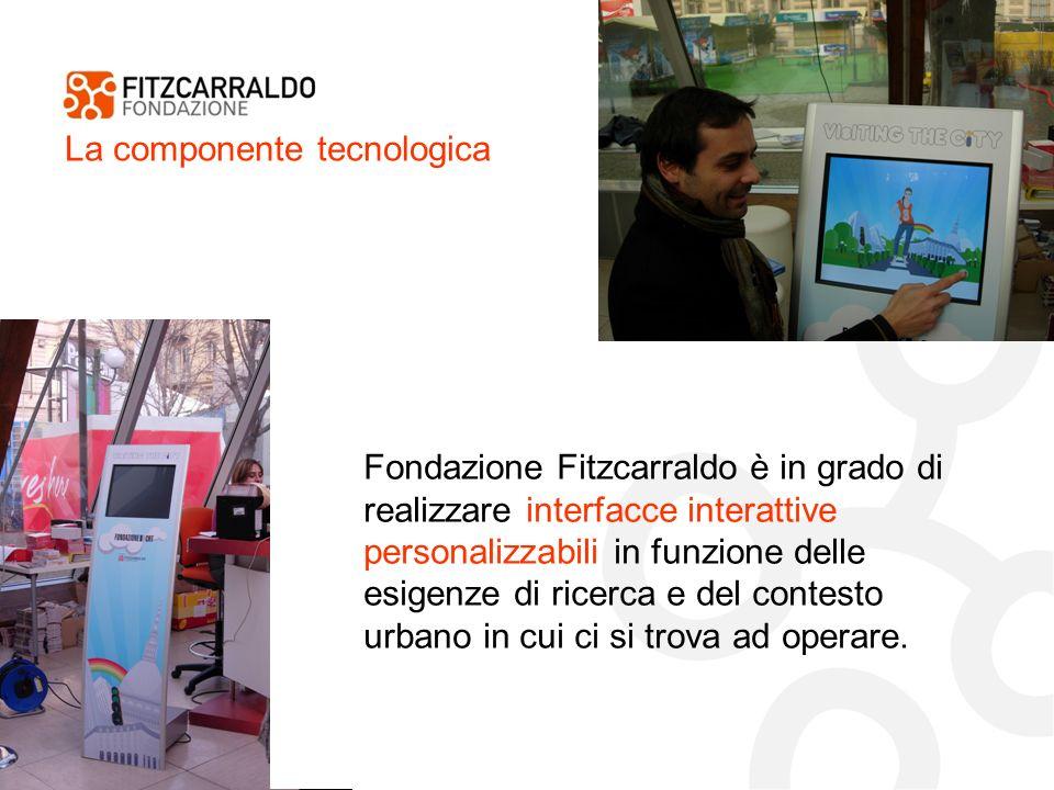 La componente tecnologica Fondazione Fitzcarraldo è in grado di realizzare interfacce interattive personalizzabili in funzione delle esigenze di ricerca e del contesto urbano in cui ci si trova ad operare.