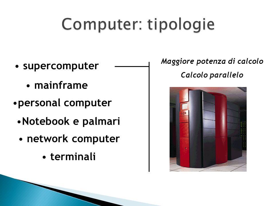 Mainframe Minicomputer Network computer Personal computer Laptop computer Elementi di differenziazione prestazioni costi modalità di impiego numero di
