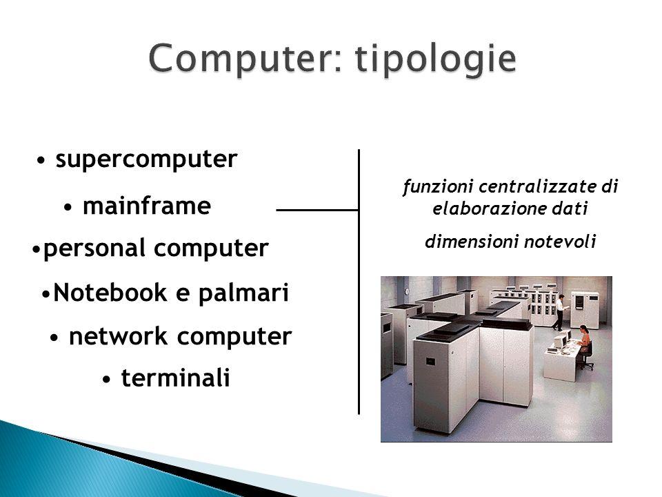 mainframe personal computer Notebook e palmari network computer terminali supercomputer Maggiore potenza di calcolo Calcolo parallelo