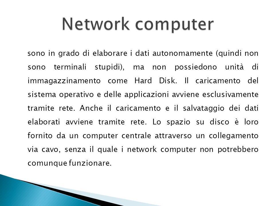 mainframe network computer terminali supercomputer Terminali con capacità di calcolo e spesso anche di immagazzinamento dati personal computer Noteboo