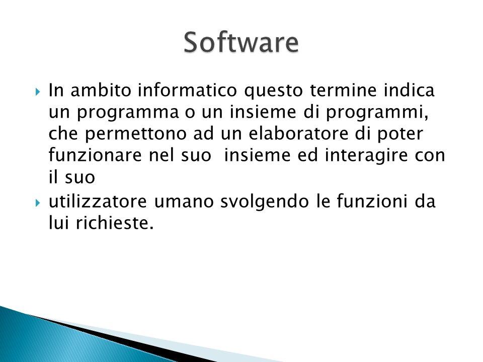 In ambito informatico questo termine indica un programma o un insieme di programmi, che permettono ad un elaboratore di poter funzionare nel suo insieme ed interagire con il suo utilizzatore umano svolgendo le funzioni da lui richieste.
