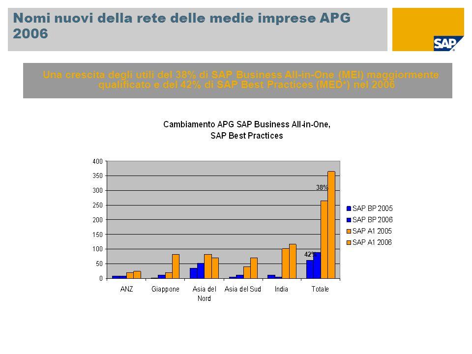 Nomi nuovi della rete delle medie imprese APG 2006 Una crescita degli utili del 38% di SAP Business All-in-One (MEI) maggiormente qualificato e del 42