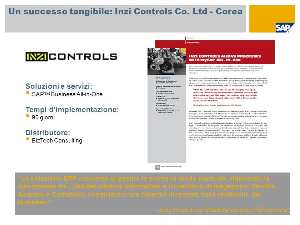 Un successo tangibile: Inzi Controls Co. Ltd - Corea La soluzione ERP consente di gestire le scorte in modo puntuale, riducendo la discordanza tra i d