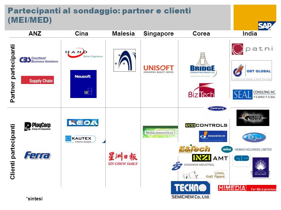 Partecipanti al sondaggio: partner e clienti (MEI/MED) ANZCinaMalesiaSingaporeCoreaIndia Partner partecipanti Clienti partecipanti *sintesi