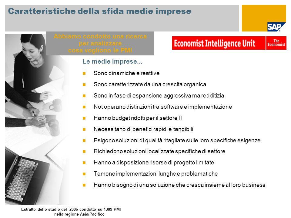 Caratteristiche della sfida medie imprese Le medie imprese... Sono dinamiche e reattive Sono caratterizzate da una crescita organica Sono in fase di e