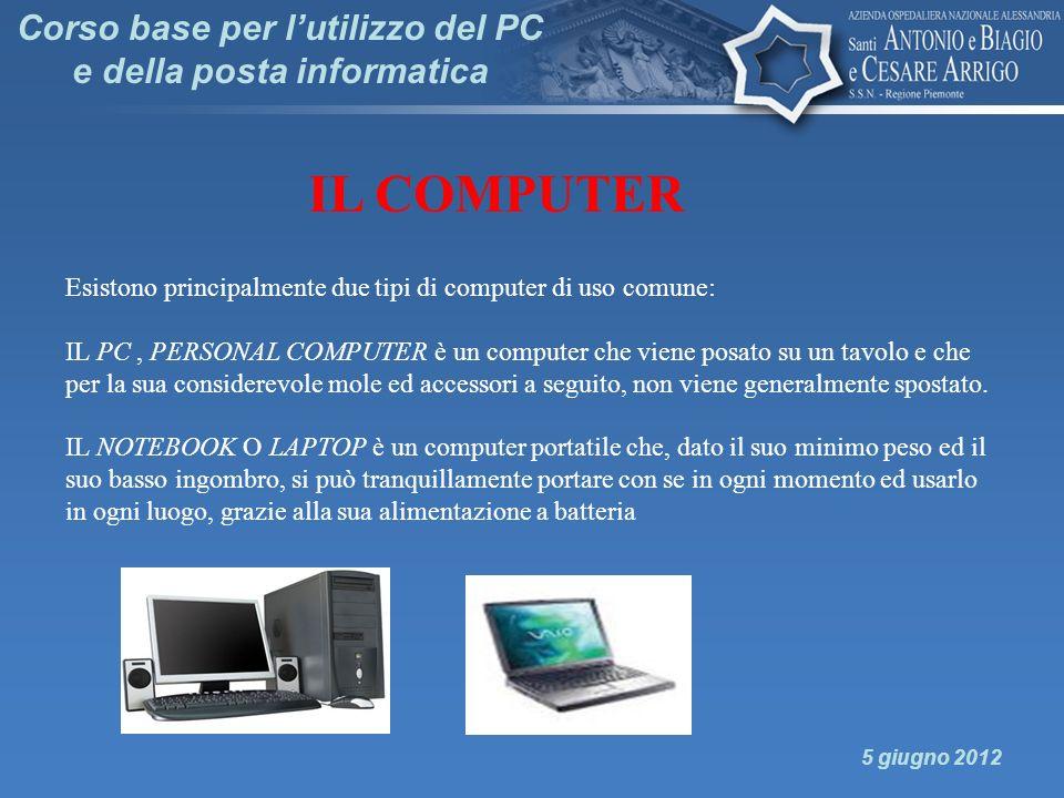 Corso base per lutilizzo del PC e della posta informatica 5 giugno 2012 IL COMPUTER Esistono principalmente due tipi di computer di uso comune: IL PC,