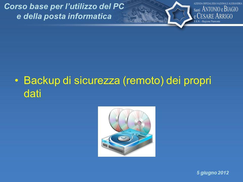 Backup di sicurezza (remoto) dei propri dati 5 giugno 2012