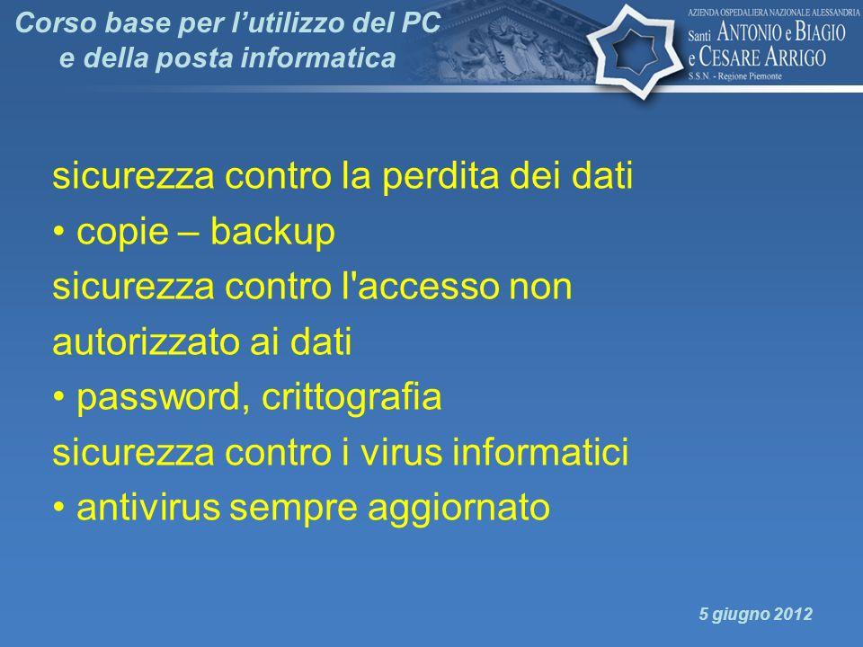 Corso base per lutilizzo del PC e della posta informatica sicurezza contro la perdita dei dati copie – backup sicurezza contro l'accesso non autorizza