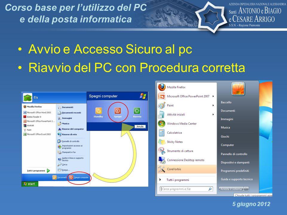 Corso base per lutilizzo del PC e della posta informatica Avvio e Accesso Sicuro al pc Riavvio del PC con Procedura corretta 5 giugno 2012