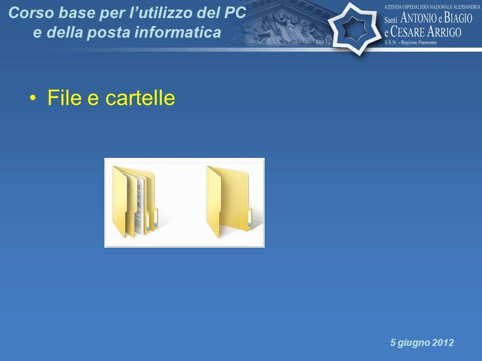 Corso base per lutilizzo del PC e della posta informatica File e cartelle 5 giugno 2012
