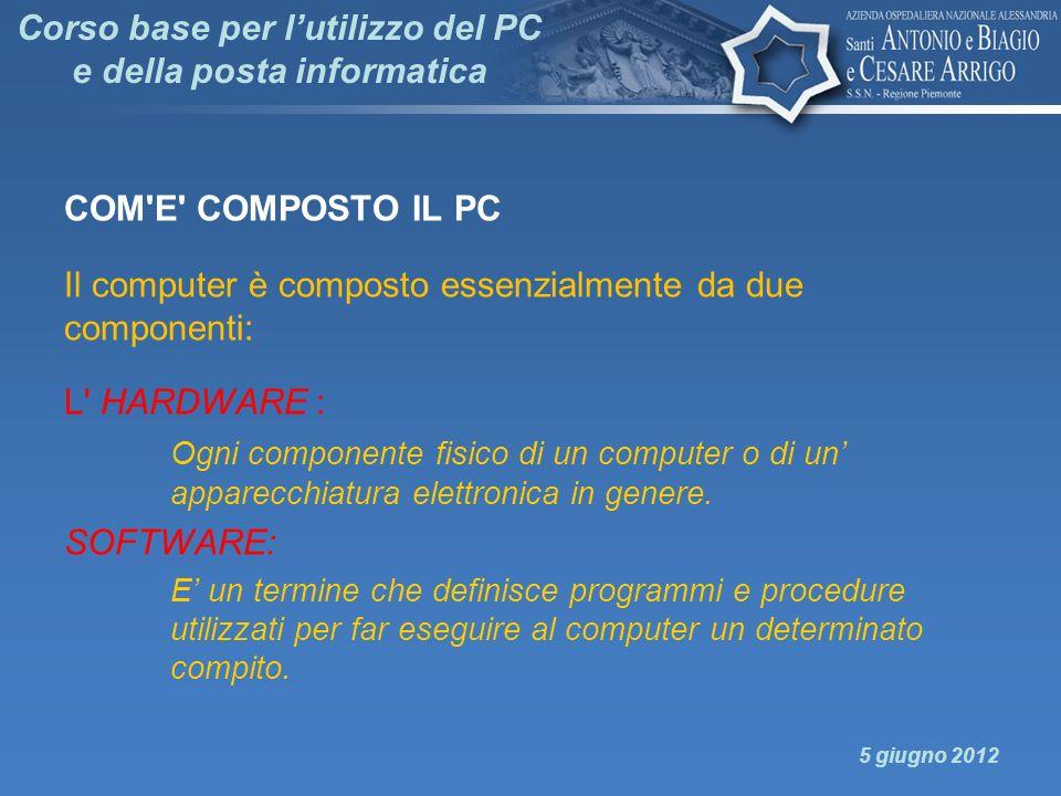 Corso base per lutilizzo del PC e della posta informatica COM'E' COMPOSTO IL PC Il computer è composto essenzialmente da due componenti: L' HARDWARE :