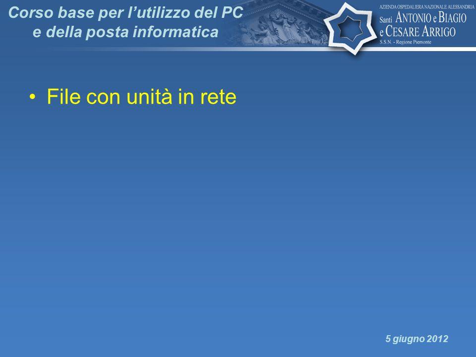 Corso base per lutilizzo del PC e della posta informatica File con unità in rete 5 giugno 2012