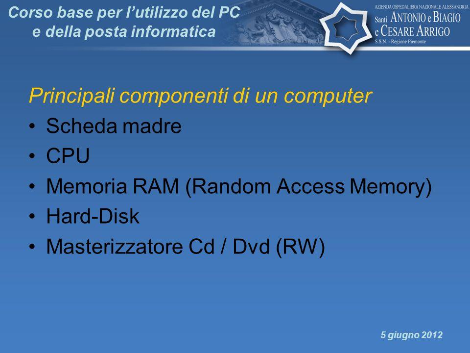 Corso base per lutilizzo del PC e della posta informatica Principali componenti di un computer Scheda madre CPU Memoria RAM (Random Access Memory) Har