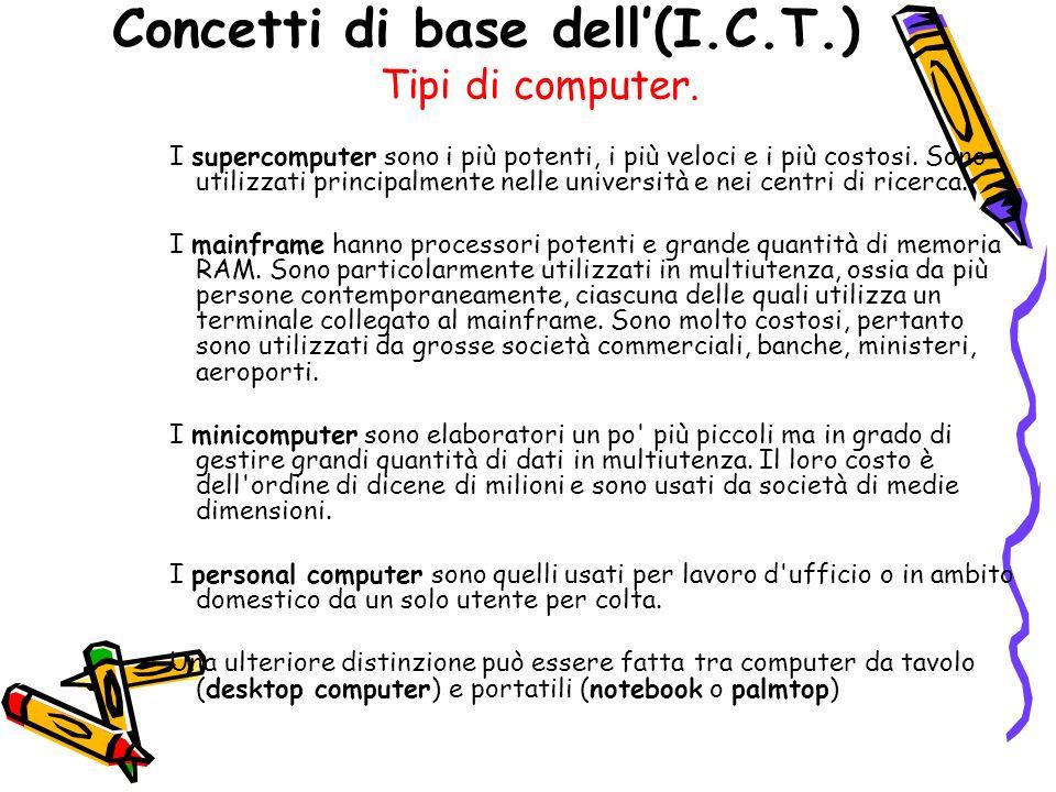Concetti di base dell(I.C.T.) Tipi di computer.