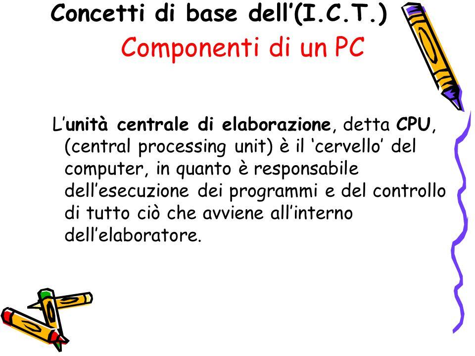 Concetti di base dell(I.C.T.) Componenti di un PC Lunità centrale di elaborazione, detta CPU, (central processing unit) è il cervello del computer, in quanto è responsabile dellesecuzione dei programmi e del controllo di tutto ciò che avviene allinterno dellelaboratore.
