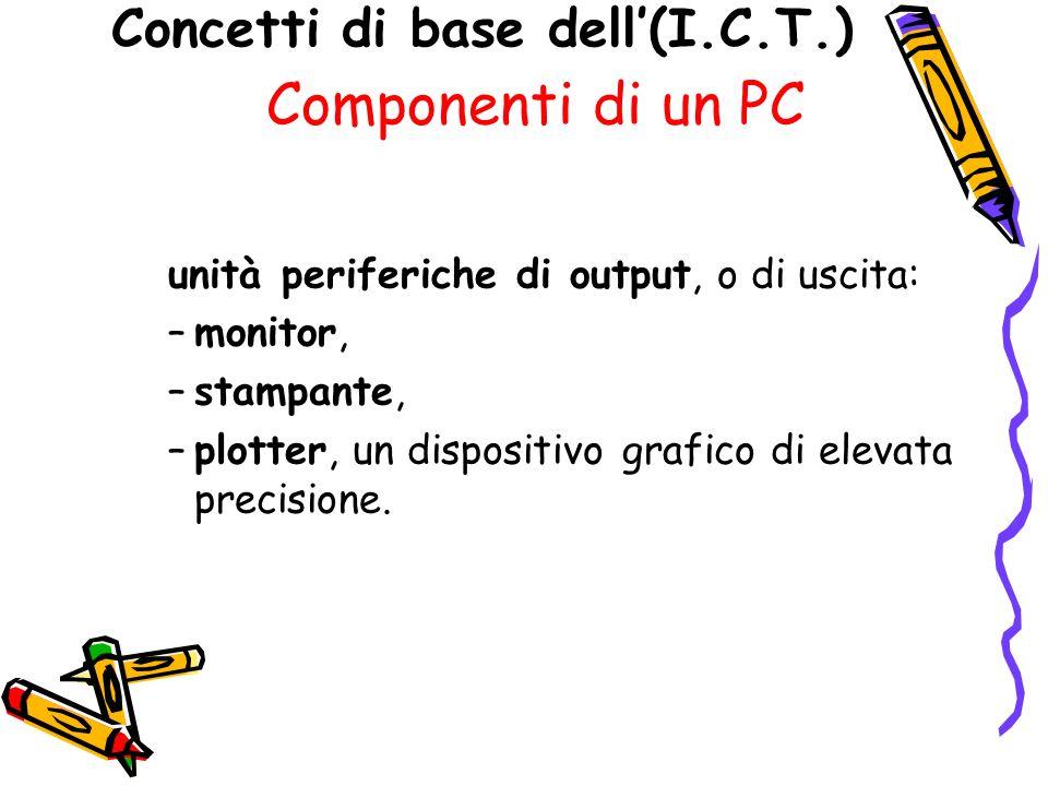 Concetti di base dell(I.C.T.) Componenti di un PC unità periferiche di output, o di uscita: –monitor, –stampante, –plotter, un dispositivo grafico di elevata precisione.