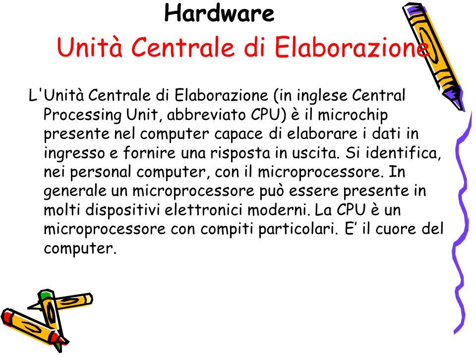 Hardware Unità Centrale di Elaborazione L Unità Centrale di Elaborazione (in inglese Central Processing Unit, abbreviato CPU) è il microchip presente nel computer capace di elaborare i dati in ingresso e fornire una risposta in uscita.